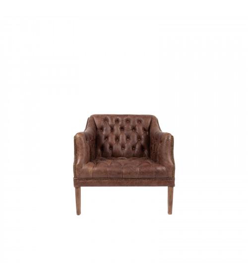 Capitonné brown Leather straigh Sofa