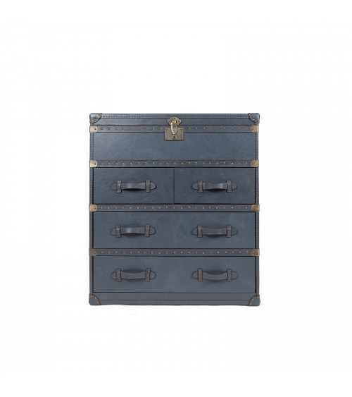 Vintage Grey Leather Trunk with drawers