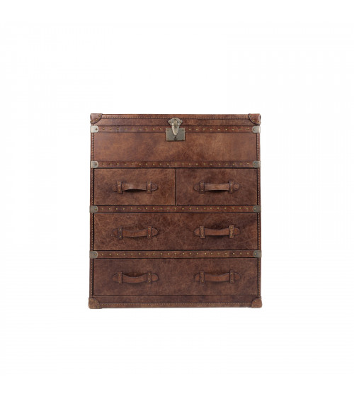 Vintage Brown Leather Trunk with drawers