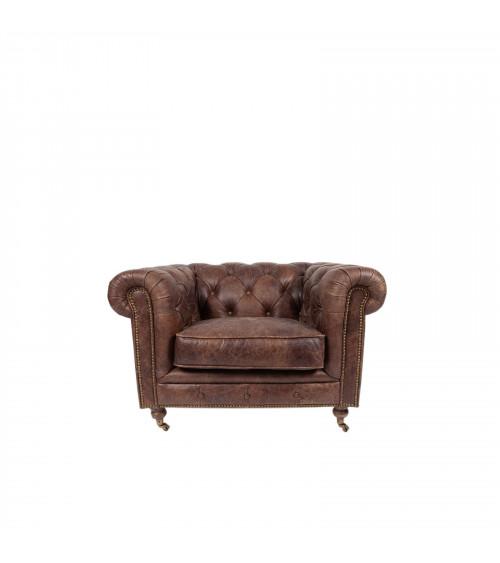 Full Vintage Capitonné Leather Armchair
