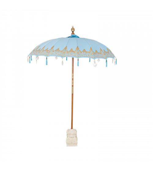 Ombrello Balinese Azzurro con Ricamo