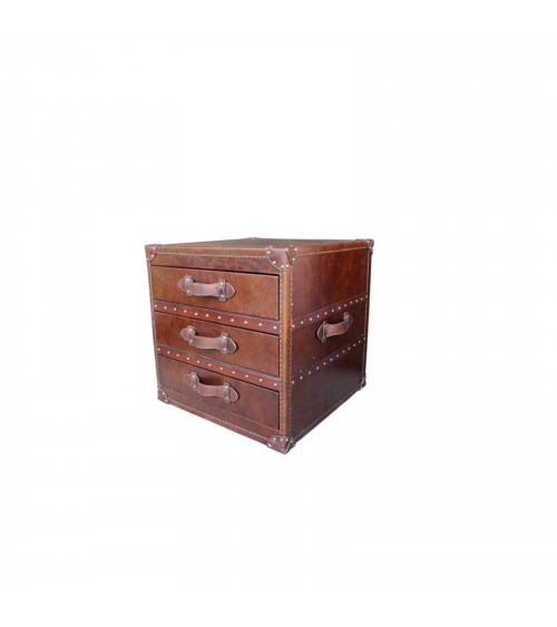 Leather Three-Drawers Bedside Table