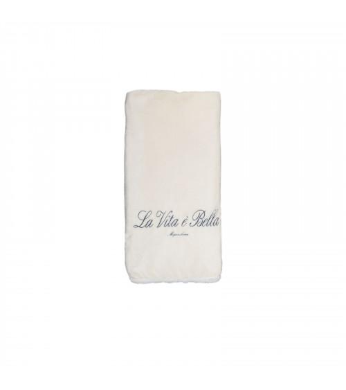 """Plaid King Size Panna logo """"La Vita è Bella"""""""