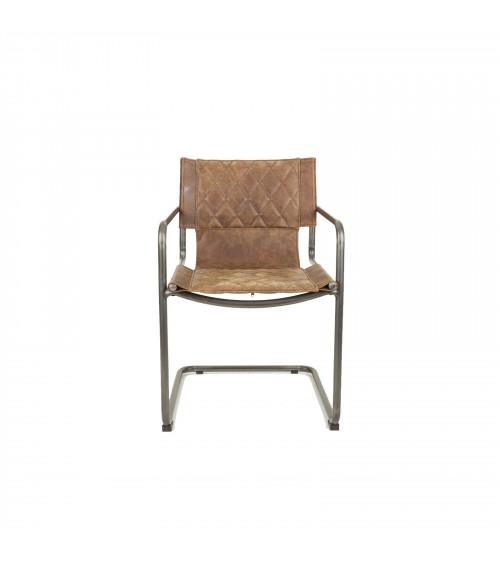 Leather & Iron Quilted Chair