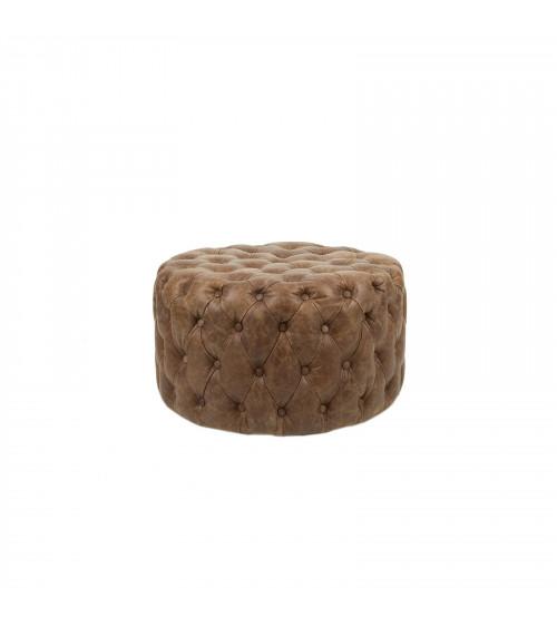 Capitonné Leather Round Pouf