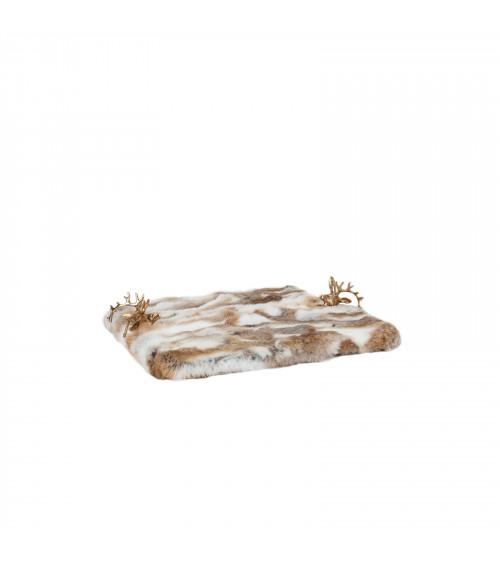 Beige Fur Chalet Serving Tray