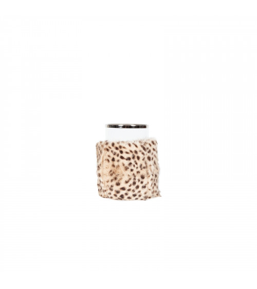 Cheetah Fur Covered Candle Holder