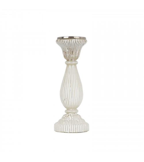 White Stripes Glass Pillar Holder