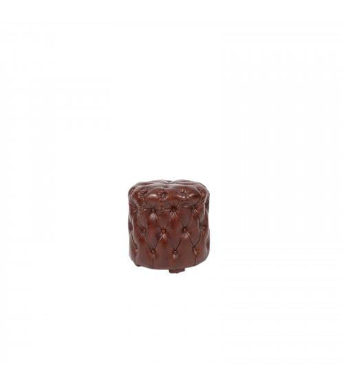 Ottoman Capitonné brown leather round pouf